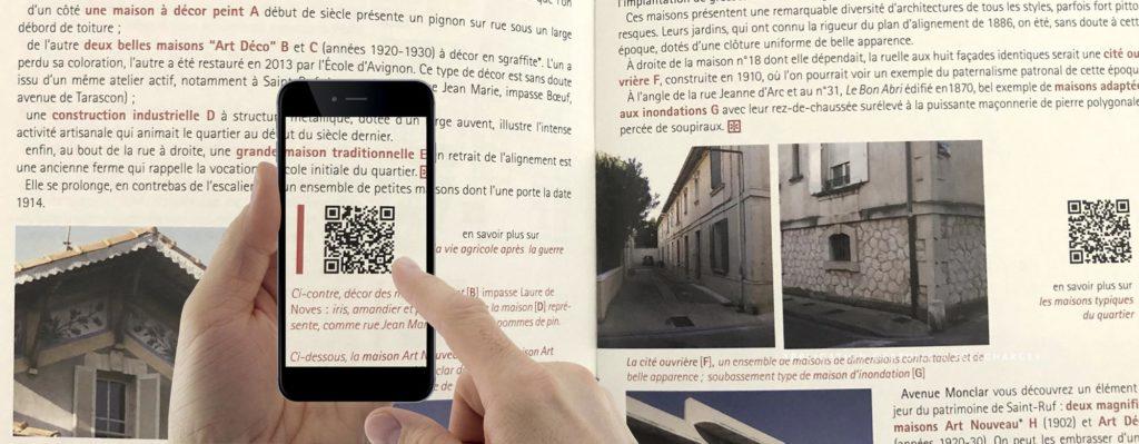 Bannière Archistoire sur le livret de présentation Augmented reality