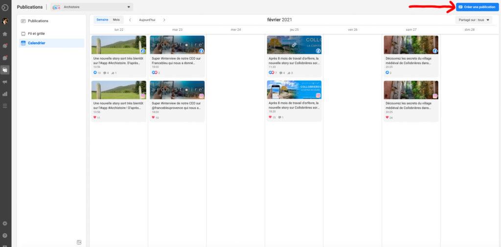 Screenshot d'un planning de publication Archistoire