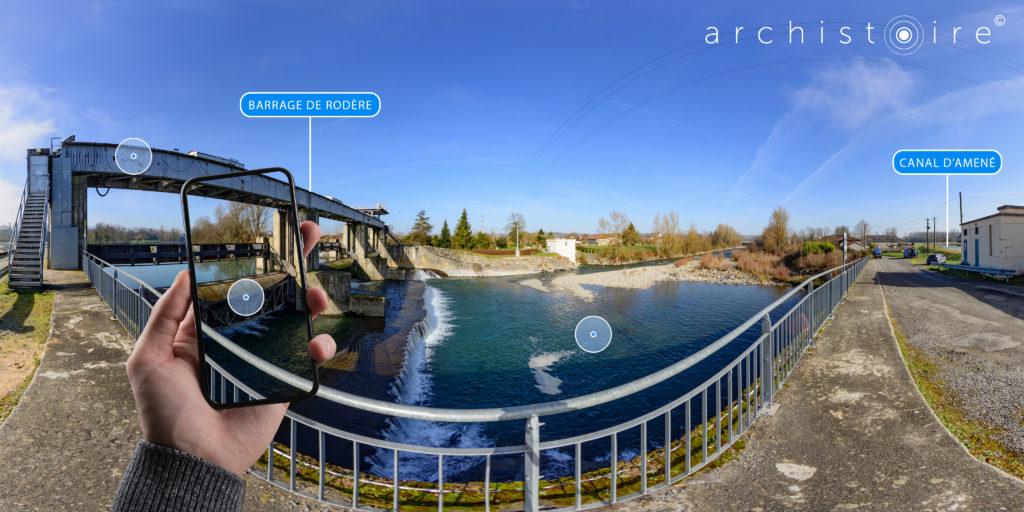 Panorama 360 Archistoire Autres Garonnes du barrage de Rodère